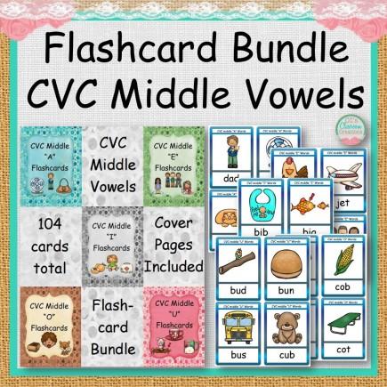 Flashcard Bundle CVC Middle Vowels