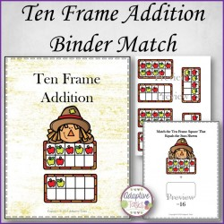 Ten Frame Addition Binder Match