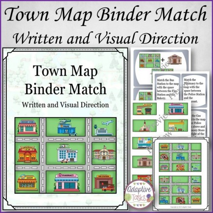 Town Map Binder Match-Written and Visual Instruction