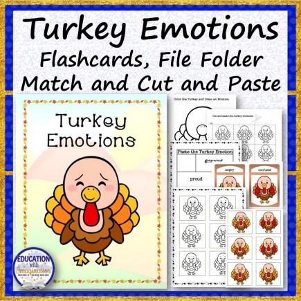 Turkey Emotions Flashcards, File Folder and Cut and Paste