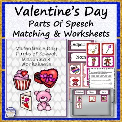 Valentine's Day Parts of Speech Matching and Worksheets