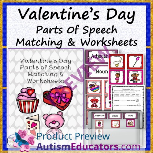 valentine 39 s day parts of speech matching and worksheets. Black Bedroom Furniture Sets. Home Design Ideas