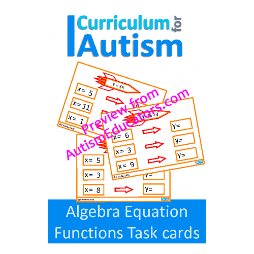 algebra equations  functions  input output machines task cards