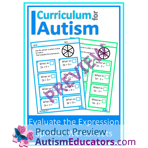 Evaluate the Expression Worksheets, Middle School Math