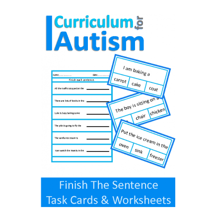 Finish The Sentence Clip Cards & Worksheets Set