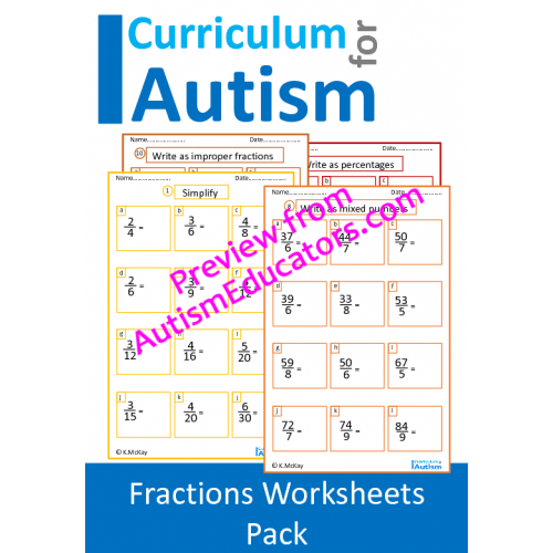 Fractions Worksheet Pack, Middle School Math