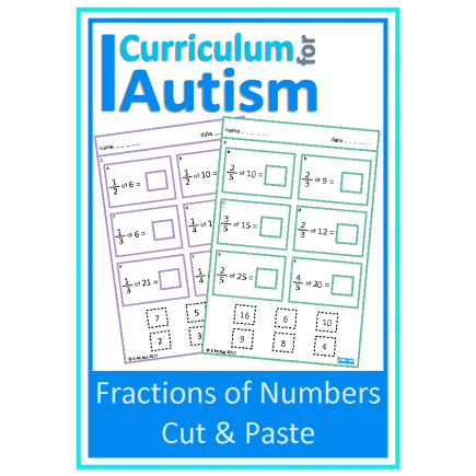 Fractions of Numbers, Cut & Paste Worksheets