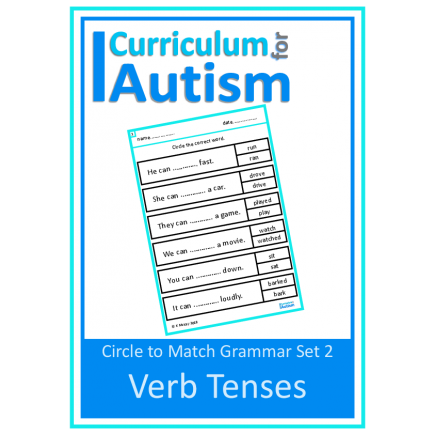 Verb Tenses Grammar Worksheets, Circle to Match