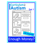 Enough Money Budgeting Autism Life Skills Worksheets UK Pounds