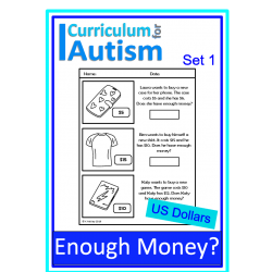 Enough Money Budgeting Autism Life Skills Worksheets US Dollars
