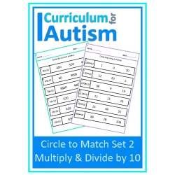 Multiply & Divide by 10, Circle to Match Set 2