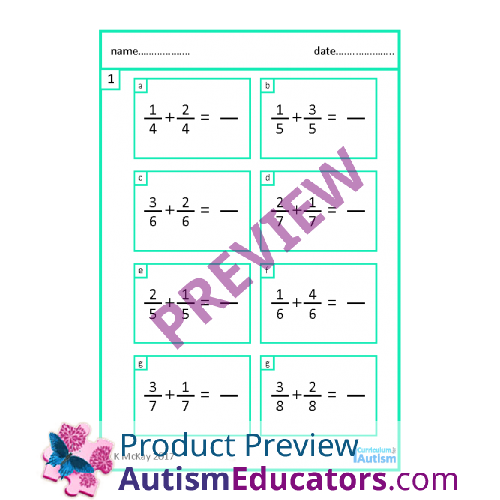 Addition  Subtraction Of Fractions Worksheets With Scaffolding