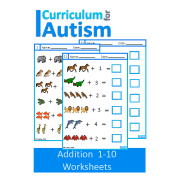 Addition 1-10 Worksheets, Animal Theme