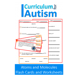 Atoms and Molecules Comprehension, Chemistry Flash Cards and Worksheets