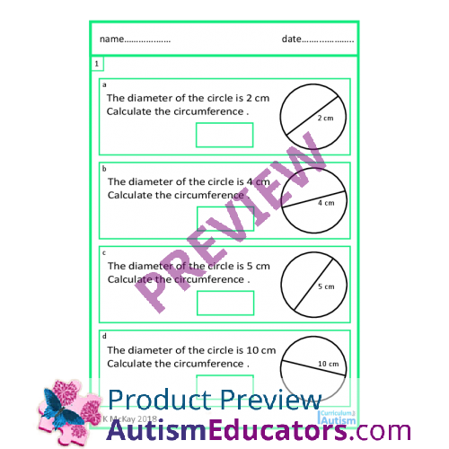 Circumference of Circles Worksheets