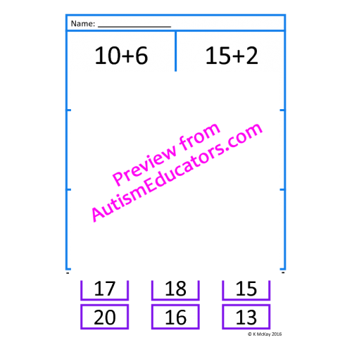 Cut and Paste Addition 1020 Worksheets – Cut and Paste Addition Worksheets