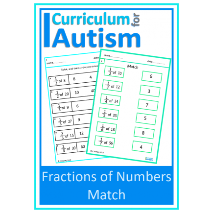 Fractions Of Numbers Matching Worksheets