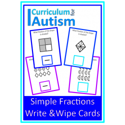 Simple Fractions of Shapes Write & Wipe Cards