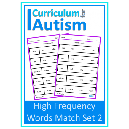 High Frequency Words Match (Set 2)