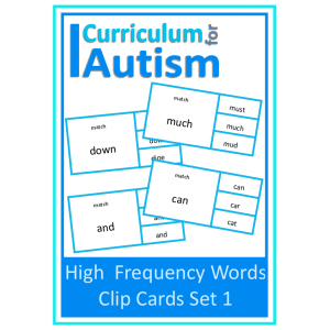 Reading High Frequency Words Clip Cards (Set 1)
