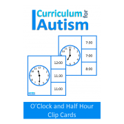 Telling Time O'Clock and Half Past Clip Cards