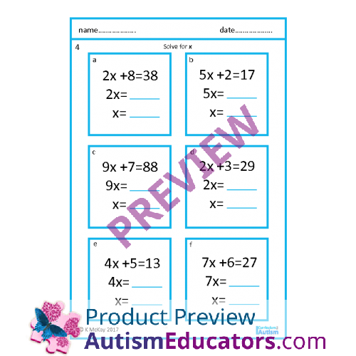 Step Two Step Equations Worksheets with Scaffolding – One Step Equations Worksheets