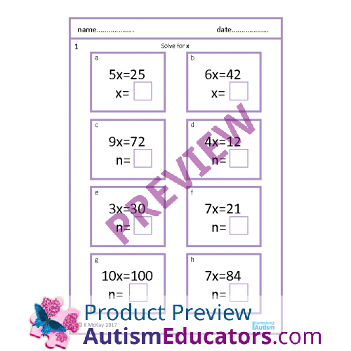 Step & Two Step Equations Worksheets, with Scaffolding