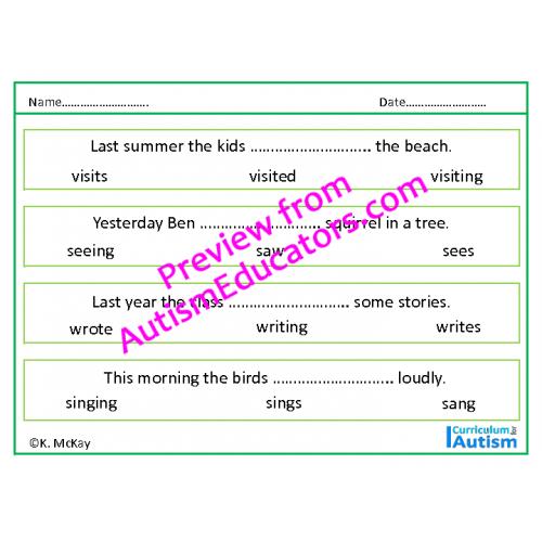 Tense Verbs Worksheets No Prep