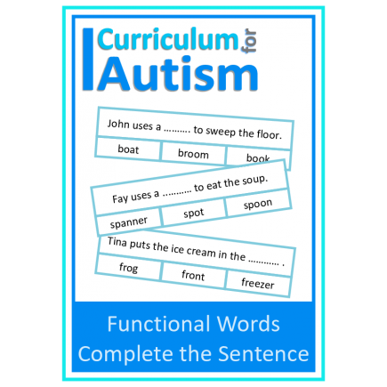 Functional Words Complete The Sentence Clip Cards