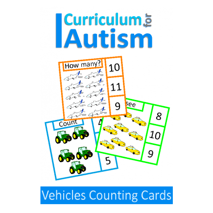 Transportation Count 1-20 Clip Cards