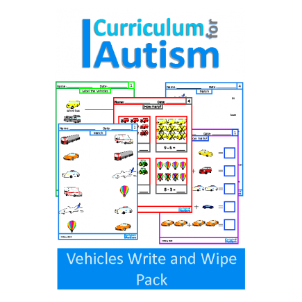 Transportation Match, Label, Count, Add, Subtract Write & Wipe Task Cards