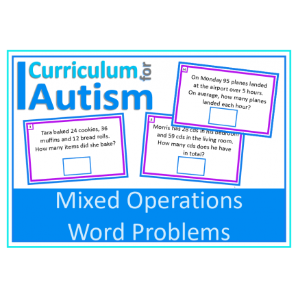 Word Problems Mixed Operations Write & Wipe Cards