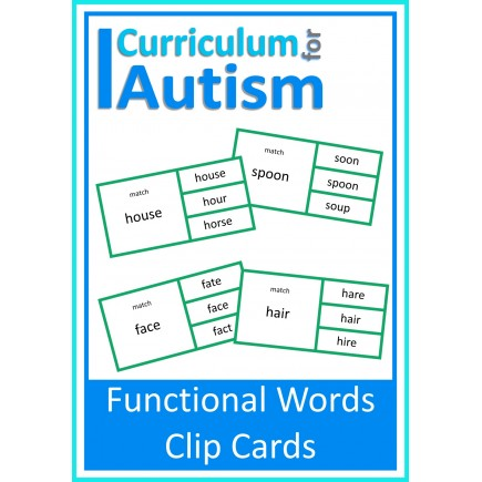 Functional Words Read & Match Clip Cards