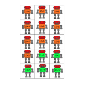 Robot Addition Math Flashcards 10 - 20
