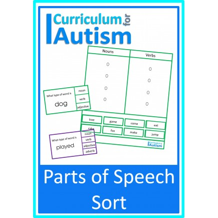 Parts of Speech Sort- Clip Cards & Task Boards