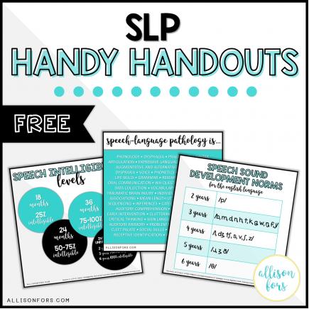 FREE Speech Therapy Handy Handouts
