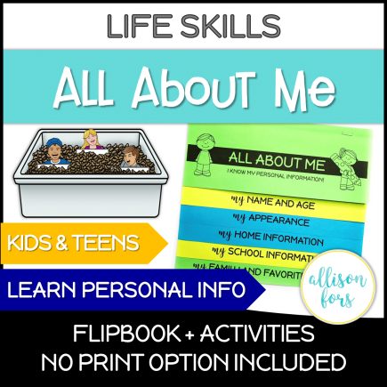 All About Me Personal Information Life Skills
