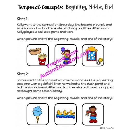 No Prep Temporal Concepts Worksheets
