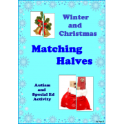 Winter and Christmas Matching Halves Activity for Autism and Special Ed
