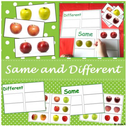 Apples Same and Different Sorting Activity for Special Education