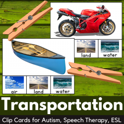Transportation Clip Cards for Special Education with Real Pictures