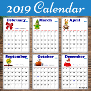 2019 Calendar (Editable) with USA Holidays