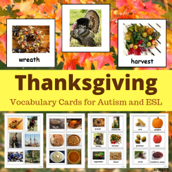 Thanksgiving Vocabulary Photo Cards for Special Ed, Speech Therapy