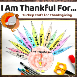 I Am Thankful For Turkey Craft for Thanksgiving