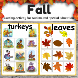Fall Sorting Activity - Apples, Leaves, Pumpkins, Turkeys