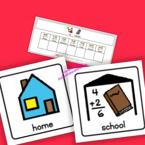 home school calendar board and cards boardmaker autism adhd