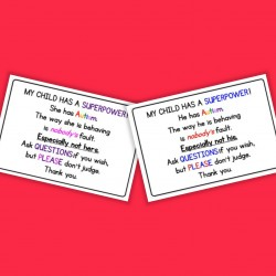 Autism Handout Cards - Autism / ASD - Daughter / Son