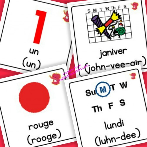 French Days, Months, Colours, Numbers with Pronunciation - Boardmaker