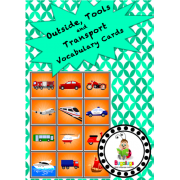 Vocabulary Cards - Outside Items, Tools and Transport