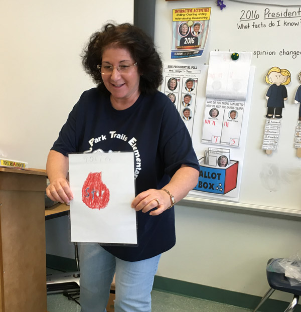 Teacher displaying self-made visuals for self-regulation